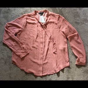 Dusty pink bow blouse NWT size plus Forever 21